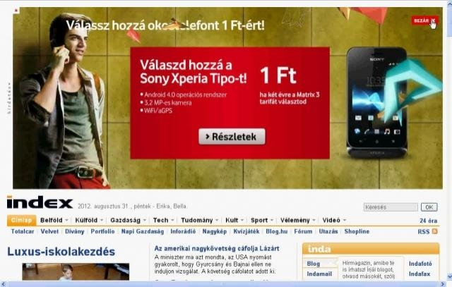 Vodafone Pushdown @ Index címlap