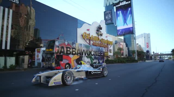Formula E car drives Las Vegas Strip