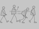 Cartoon character walking test