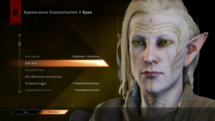 Dragon Age Inquisition: Fenrir Lavellan CC sliders
