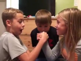 Arm wrestling 10 year old vs 8 year old